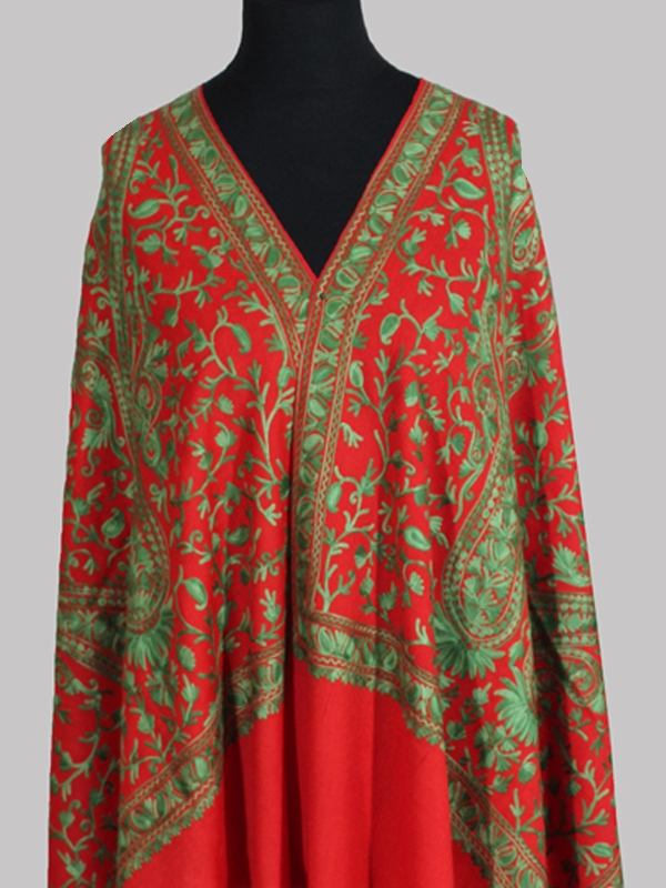 Premium oyster red and green chain stitch pashmina embroidery scarf