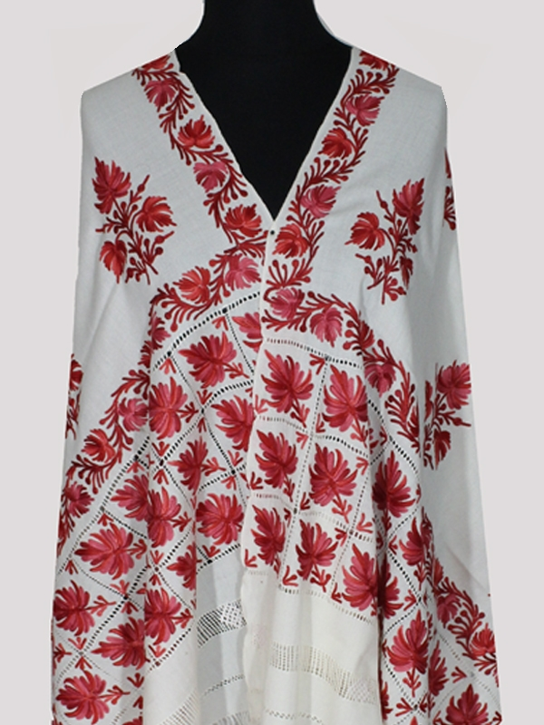 Beautiful off-white red roses floral embroidery cashmere shawl