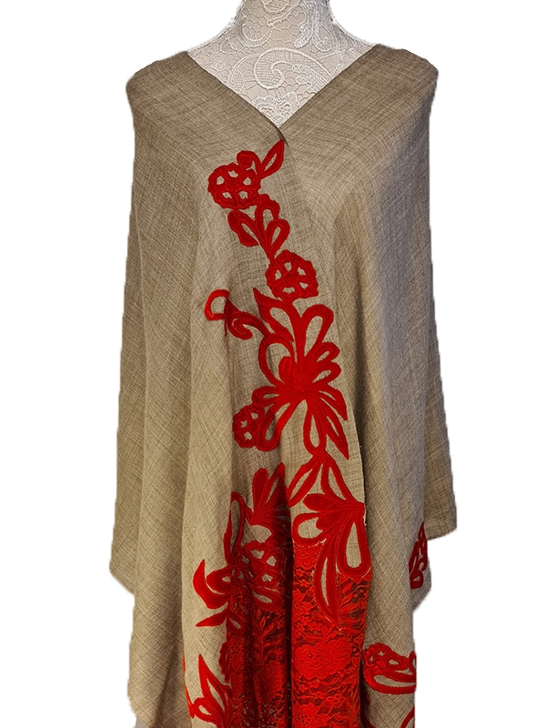 Red Lace velvet Trimming Cashmere Pashmina embroidery French Lace Scarf