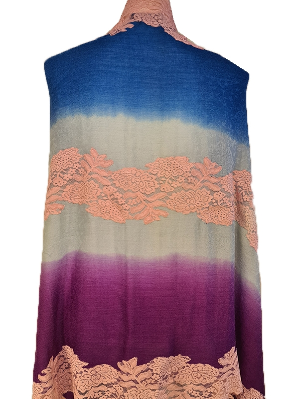 Delicate Fabled Oyster tye and dye multicolored Handmade cashmere pashmina french lace scarf