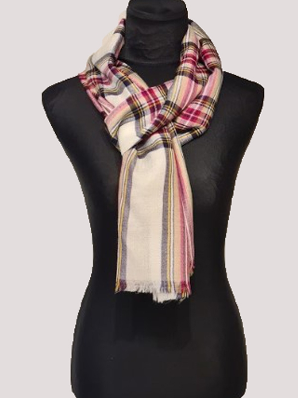 Modern Tartan check red and white handmade ultra-fine cashmere pashmina men's scarf