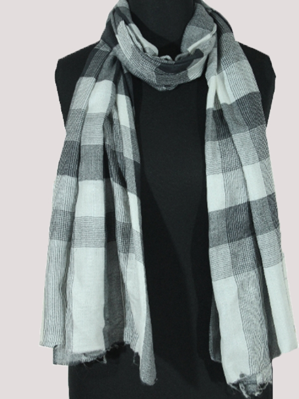 Plaid légendaire black and white handmade cashmere pashmina men's scarf