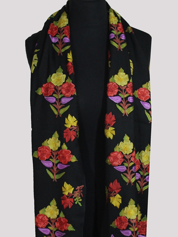 Finest cashmere midnight black chain-stitch floral embroidered shawl
