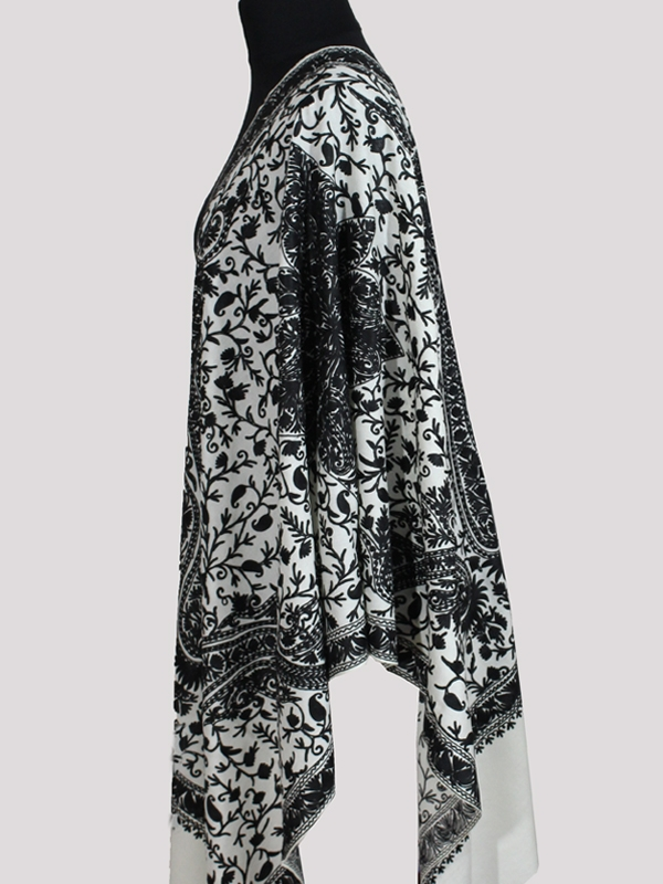 Delicate Premium black and white chain stitch embroidery cashmere shawl