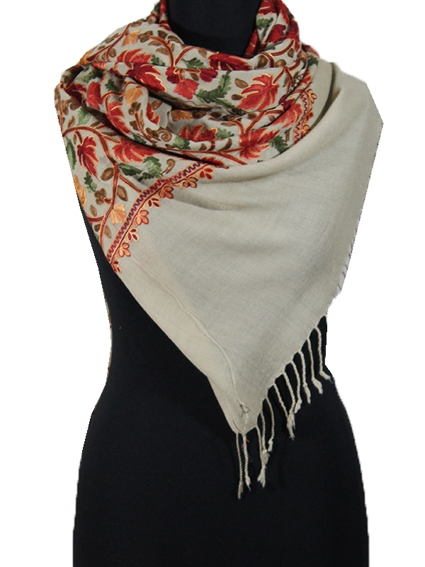 Delicate beige floral pattern cashmere chainstich embroidery scarf