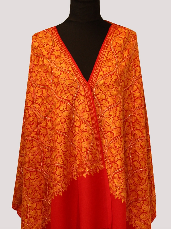 Royale premium candy red handmade ultra-fine cashmere pashmina chain stitch beads pattern embroidered scarf