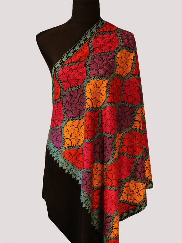 Stunning onyx black handwoven cashmere pashmina embroidery scarf
