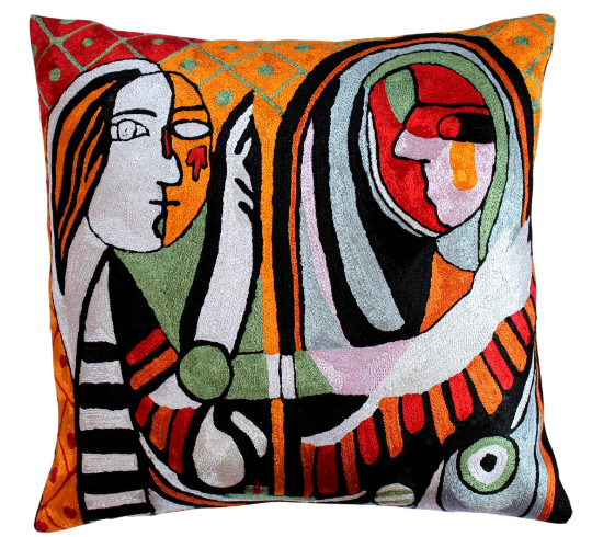 Picasso contemporary face art style modern accent pillow cover