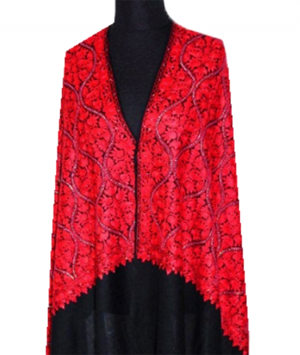 Delicate Premium Candy rouge ultra fine cashmere embroidery shawl