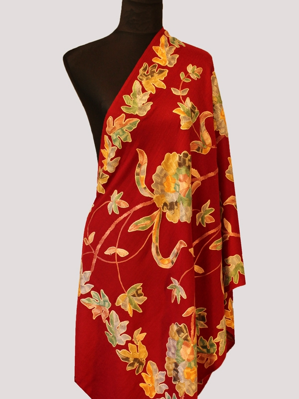 Beautiful tiffany red handwoven cashmere pashmina embroidery scarf