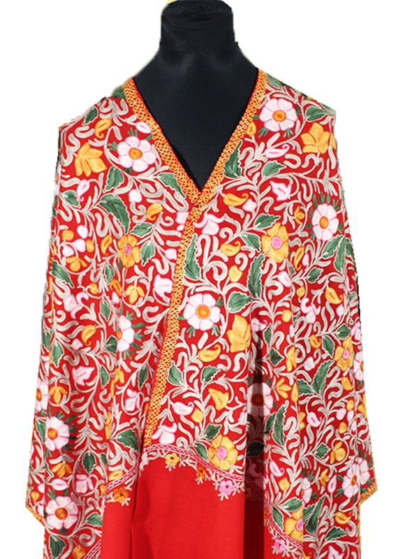 Delicate Premium Red Candy Tres Chic Regal ultra fine cashmere embroidery scarf
