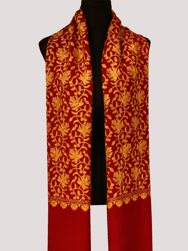 Superbe chef-d'œuvre rouge cramoisi et or cashmere pashmina scarf