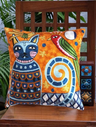 Funky-Picasso-multicolored-cat with parrot-throw-pillow-cover
