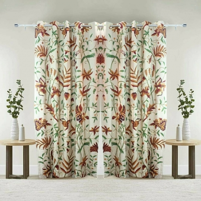 FABRIC BY THE METER CREWEL CURTAIN