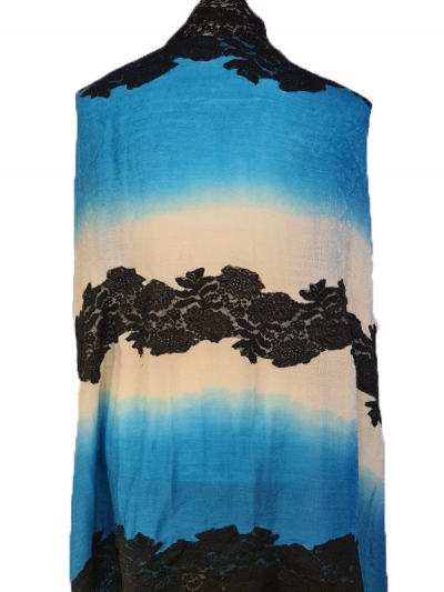 Stunning Fabled Tye and Dye cashmere pashmina French lace scarf