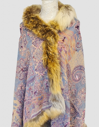 Delicate Multi-hued woven paisleys Handmade Cashmere Pashmina Fur Scarf