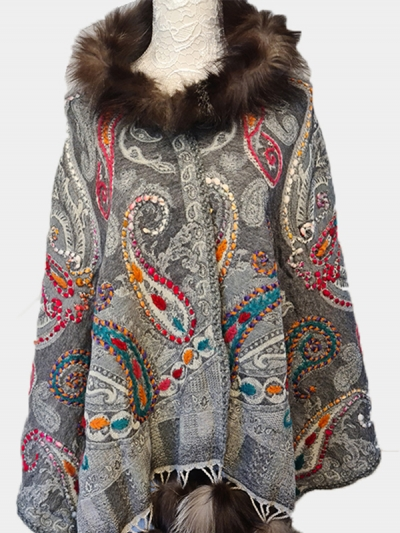Luxurious Pure Cashmere Multi-hued woven paisleys Pashmina Fur Scarf