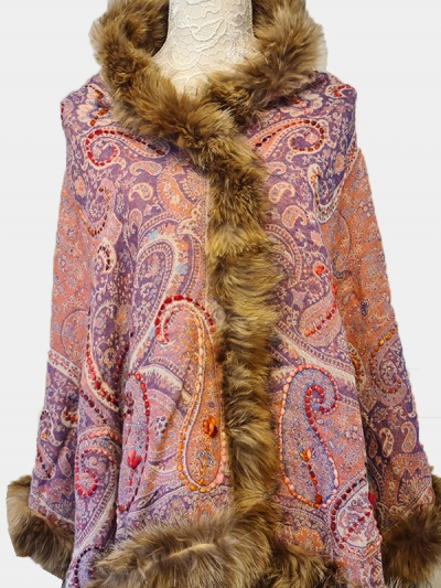 Authentic Premium Cashmere Multi-hued woven paisleys Pashmina Fur Scarf