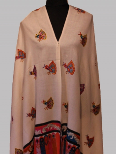 Beautiful sizzling butterflies handmade cashmere sozni embroidery scarf