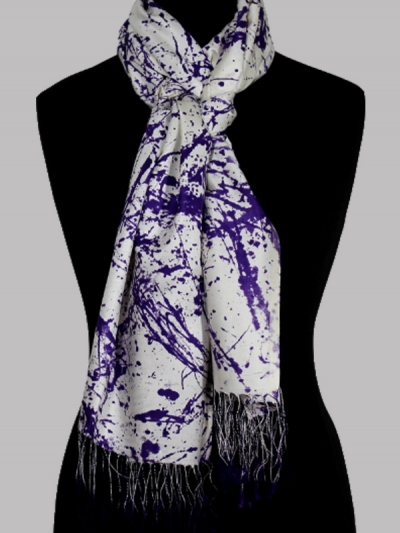Fabled purple modern abstract design handmade ultra-fine silk designer scarf