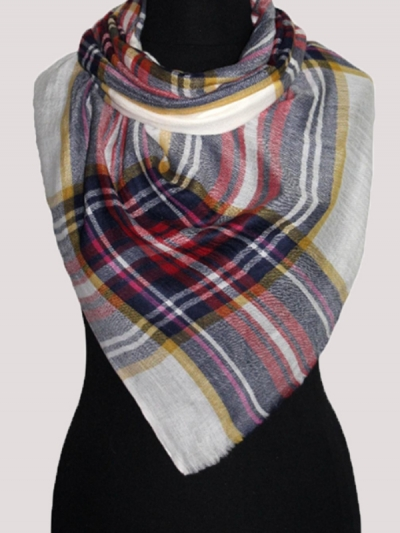 Modern Tartan check red and white handmade ultra-fine cashmere pashmina scarf