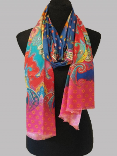 Elegant lavish seven springs digital print bridal silk scarf/