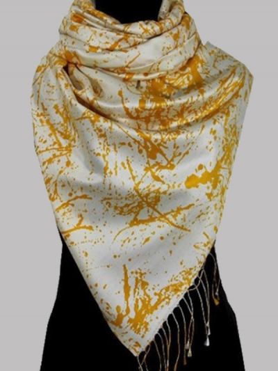 Finest silk beautiful yellow bridesmaid modern abstract design scarf