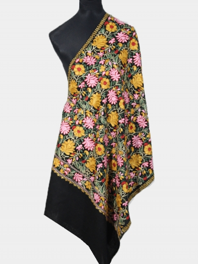 Delicate Cashmere Tres Chic Regal Flower Blossom Black Pashmina Embroidery Scarf