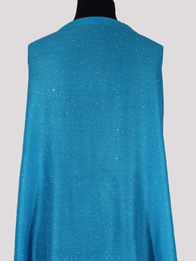 Marvelous turquoise blue Handmade  Cashmere Swarovski embroidery scarf