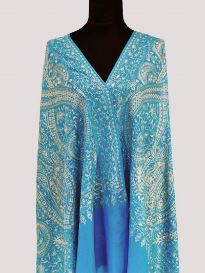 Finest cashmere Turquoise blue luxury handmade chain stitch embroidered bridesmaid scarf
