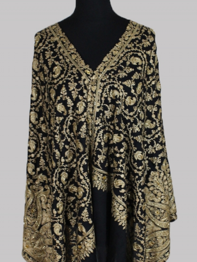 Luxurious Black Gold swarovski beads chain stitch embroidery cashmere scarf