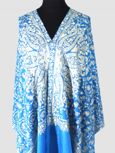 Finest cashmere Turquoise blue swarovski beads chain stitch embroidered scarf