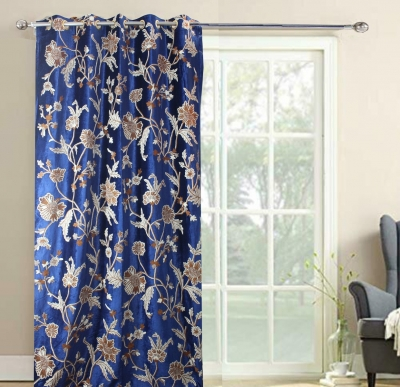 Royal Blue Velvet Crewel Embroidery FULLY-LINED Curtain Samples