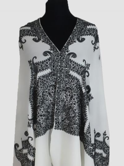 Elegant lavish black and white ultra-fine beads cashmere embroidery scarf