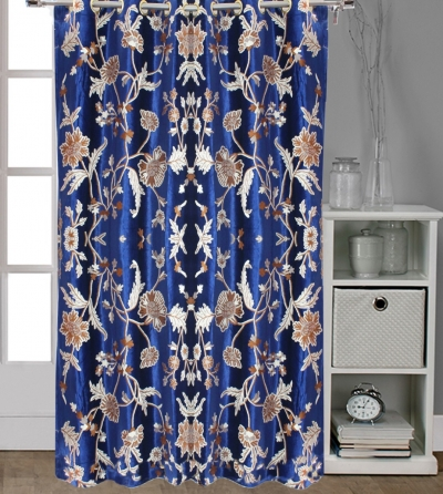 Royal Blue Velvet Crewel Embroidery FULLY-LINED Curtain