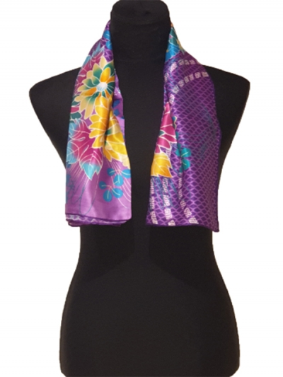 Stunning Purple ultra fine bursa Silk Scarf-digital print Scarf