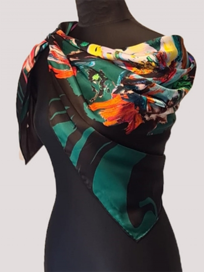 Royal emerald green ultra-fine bursa silk scarf/designer silk scarf