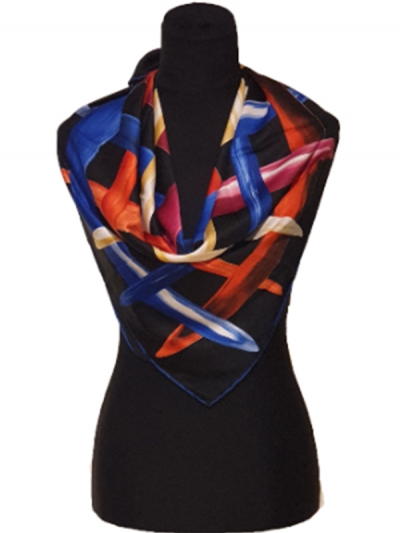 Beautiful luxurious midnight blue ultra-fine silk multicolor designer scarf