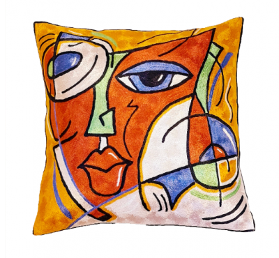 Picasso symphony face-art-style-throw-pillow-cover