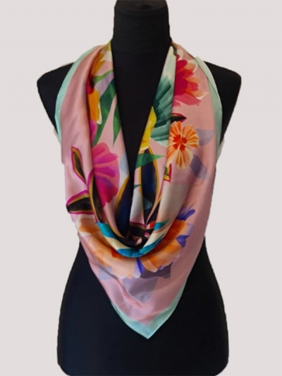 Delicate signs of spring flower blossom ultrafine bursa Silk Scarf