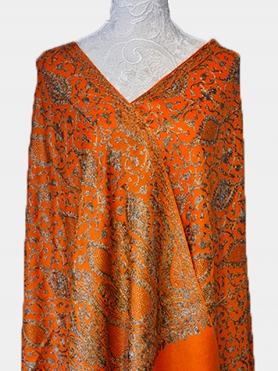 Pure Cashmere lavish orange handmade pashmina embroidered shawl