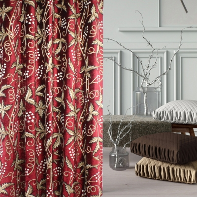 Beautiful Redberry Velvet Crewel Embroidered Curtain Samples