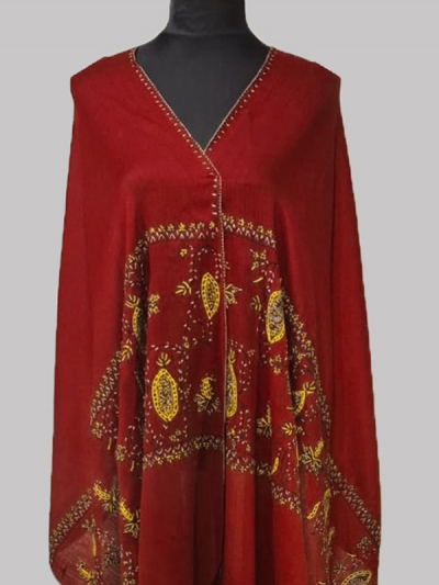 Beautiful red wine cashmere pashmina sozni embroidery scarf