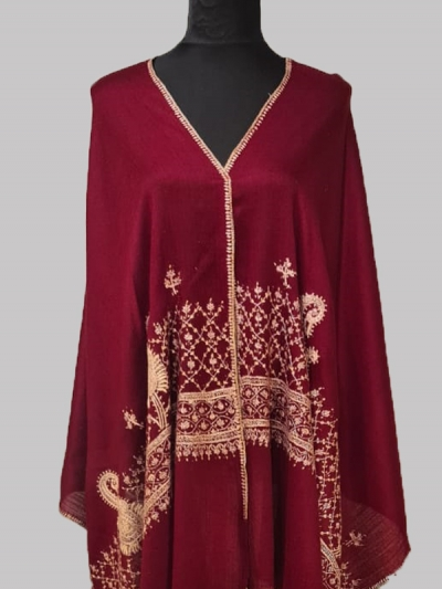 Beautiful Lavish Raspberry Wine Handmade Cashmere Pashmina sozni embroidery Scarf