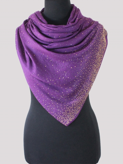 Fabled purple Swarovski Crystal Handwoven Cashmere Pashmina Scarf