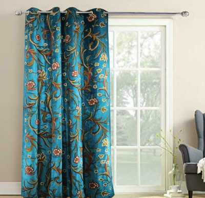 Turquoise Blue Velvet Crewel Embroidery FULLY-LINED Curtain