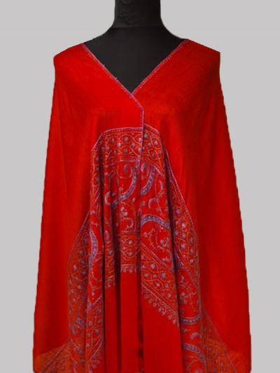 Beautiful Lavish Red Handmade Cashmere Pashmina sozni embroidery Scarf