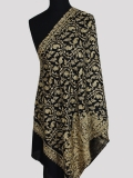 Black Gold swarovski beads chain stitch embroidery cashmere scarf